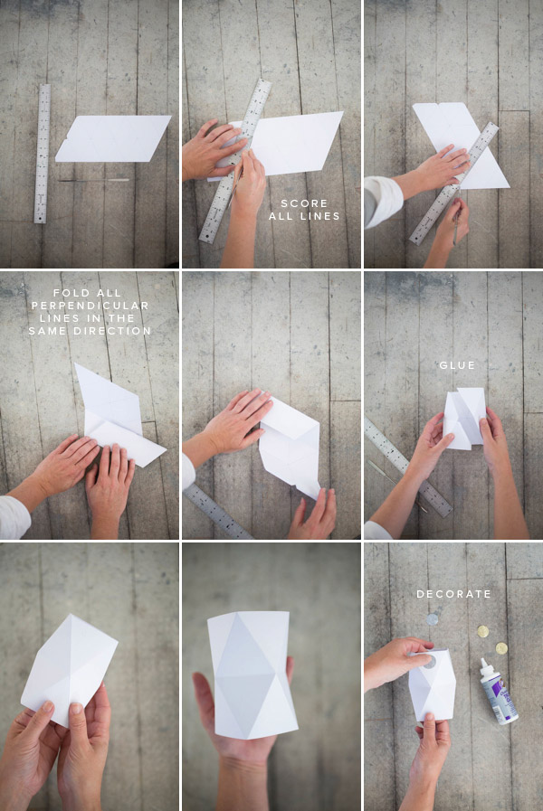 faceted vase diy free template