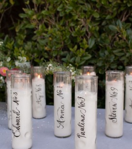 Calligraphy Candle Place Cards | Oh Happy Day!
