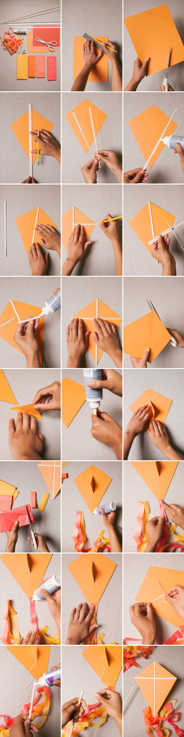 Step by instructions on how to make a paper kite