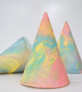 Marbleized Party Hats DIY   Oh Happy Day!
