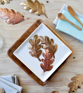 Foil Leaves Table Decor | Oh Happy Day!