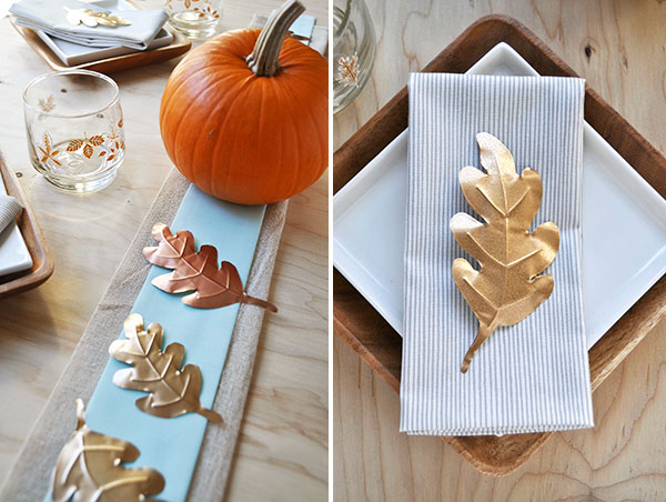 Metallic Leaves Table Decor | Oh Happy Day!