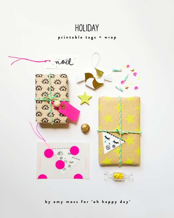 Free Printable Holiday Tags and Wrap | Oh Happy Day!
