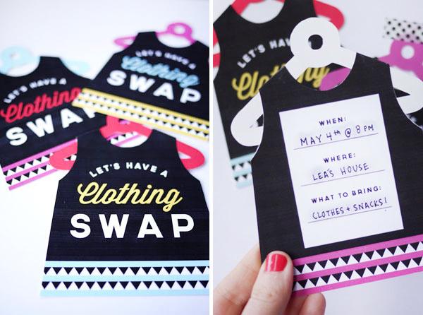 Printable Clothing Swap Invites   Oh Happy Day!