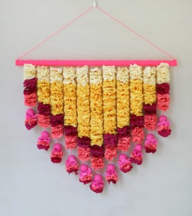 Crepe Paper Petals Wall Hanging| Oh Happy Day!