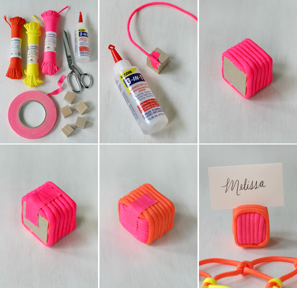 Neon Cord Party: Place Card Holder | Oh Happy Day!