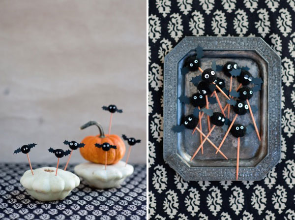 Pom Pom Bat Cupcake Toppers DIY | Oh Happy Day!