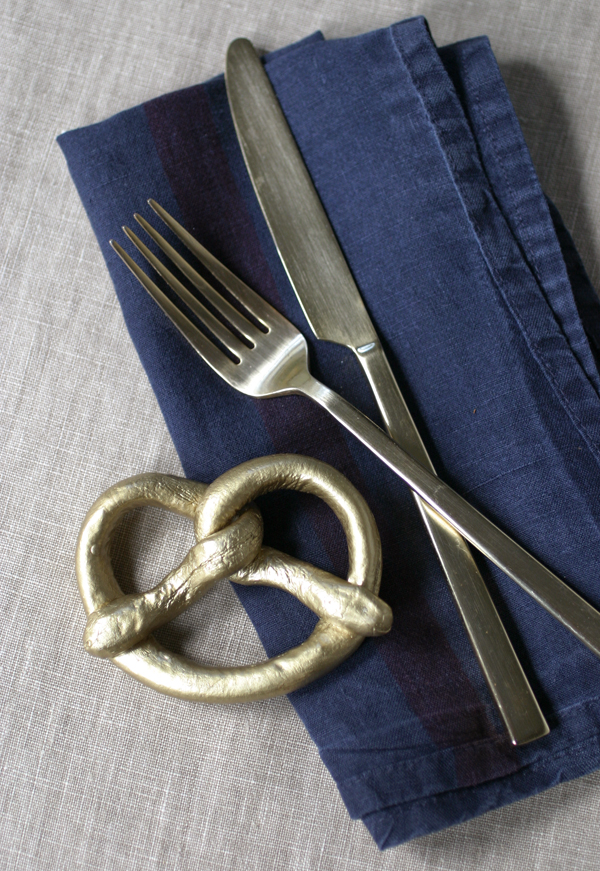 Gold Pretzel Napkin Rings | Oh Happy Day!