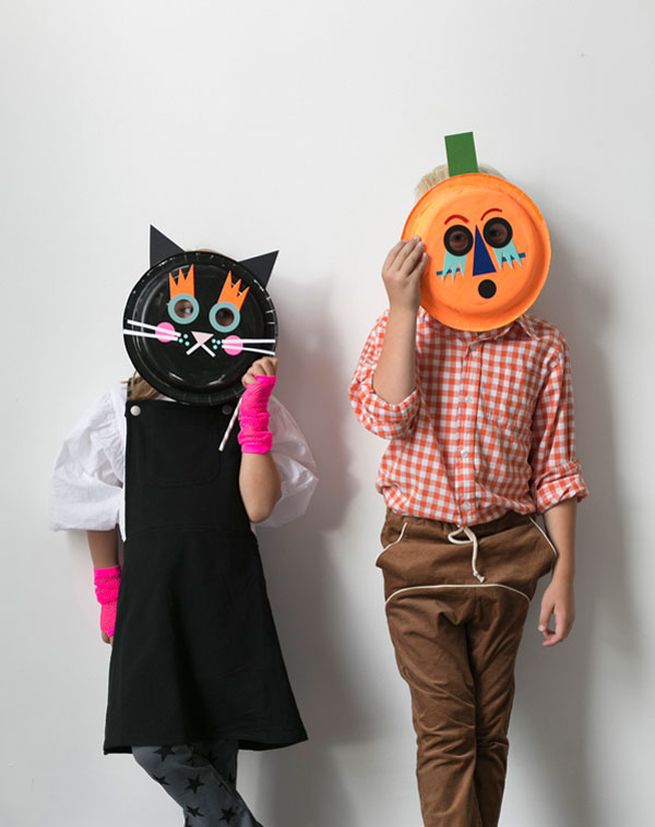 Cat & Pumpkin Paper Plate Masks | Oh Happy Day!
