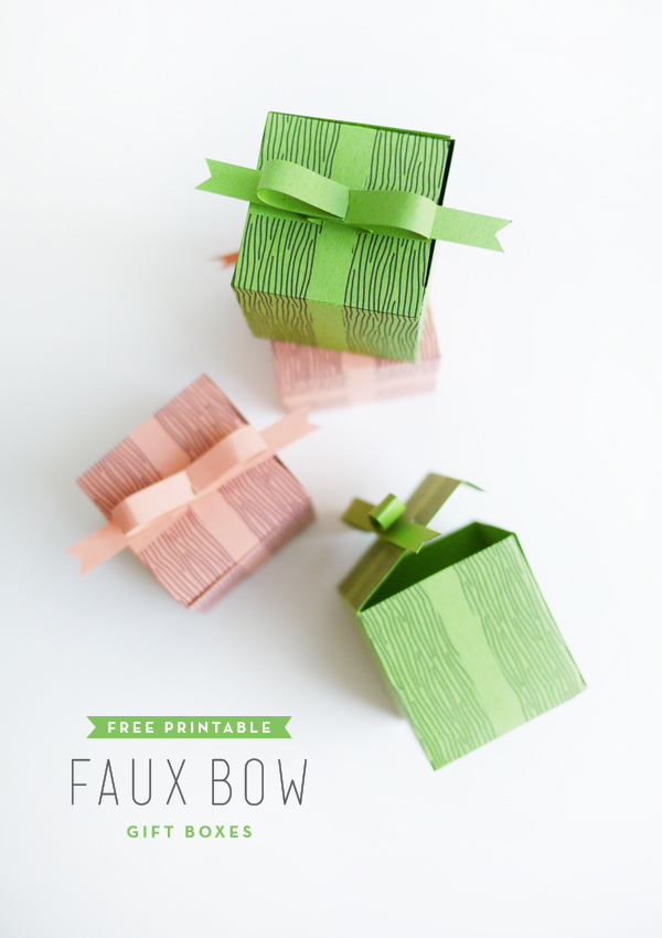 Printable Faux Bow Gift Boxes | Oh Happy Day!