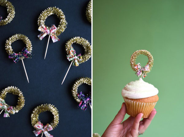 Gold Mini-Wreath Cupcake Toppers DIY   Oh Happy Day!