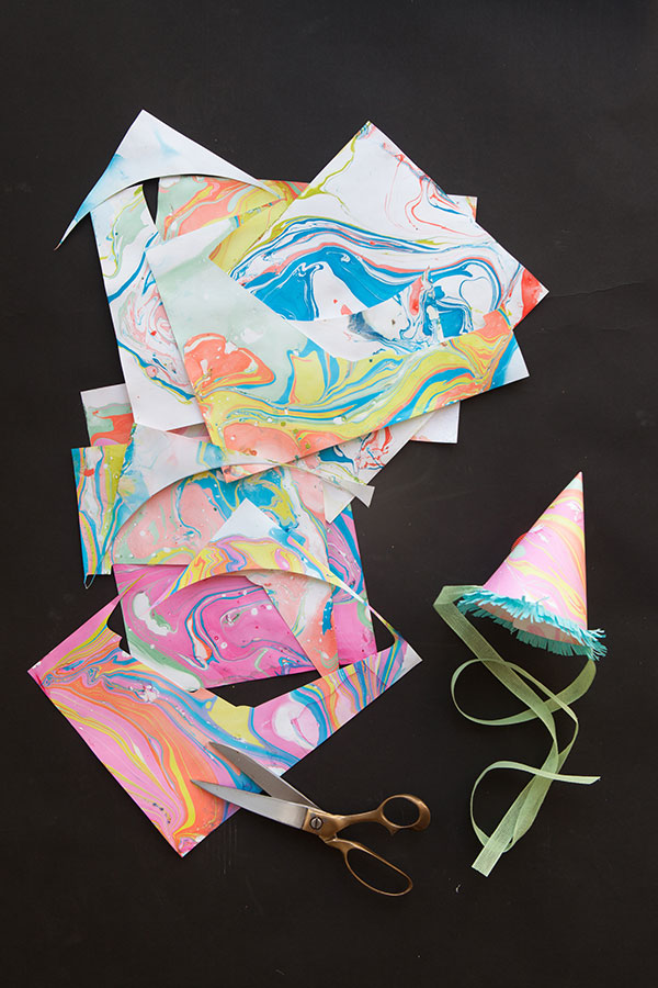 DIY Marbleized Party Hats | Oh Happy Day!