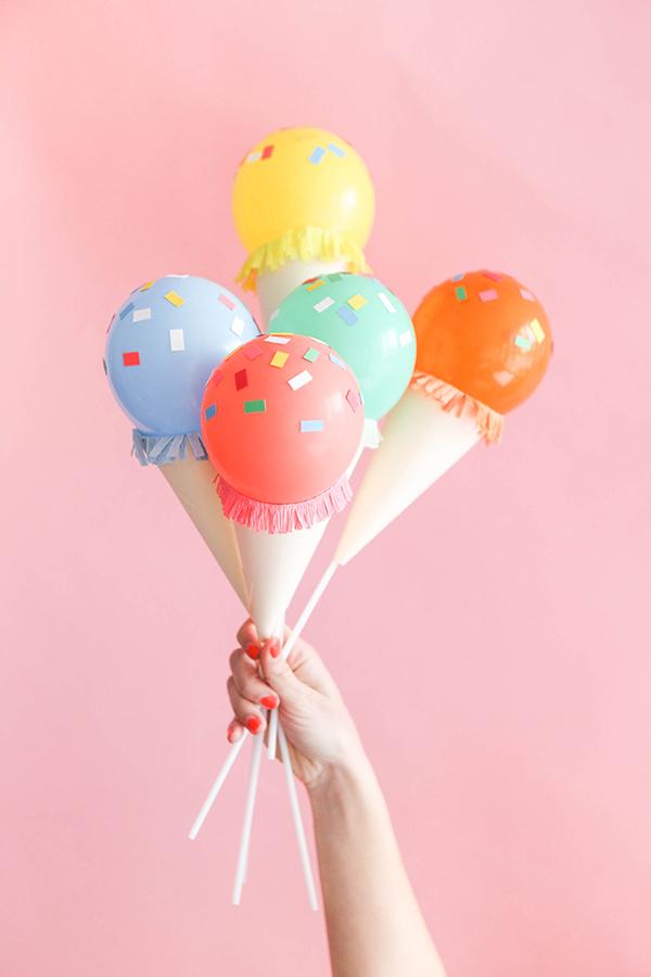 Mini Ice Cream Cone Balloon Sticks DIY | Oh Happy Day!