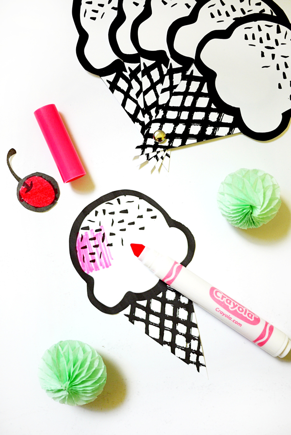Printable Ice Cream Fans   Oh Happy Day!