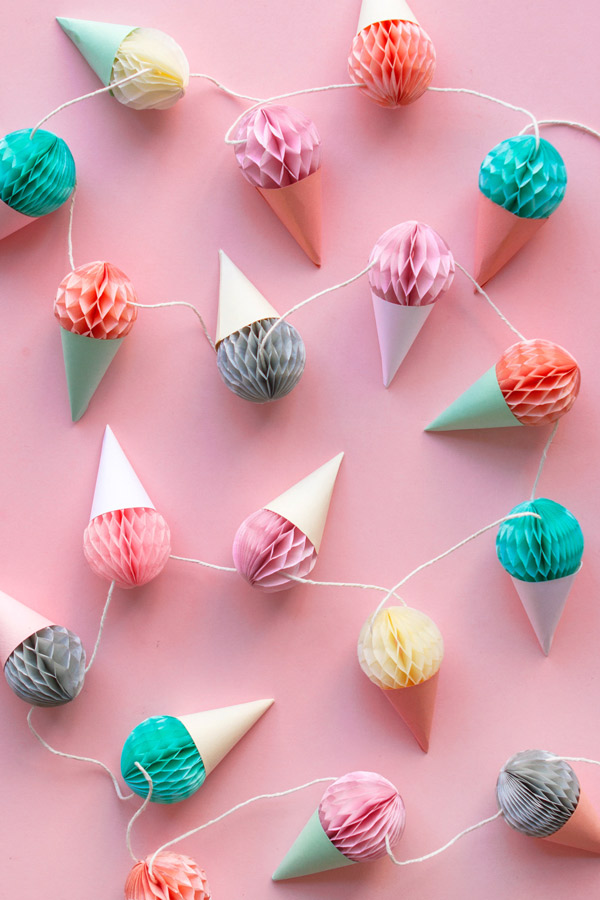 Mini Honeycomb Ice Cream Garland | Oh Happy Day!