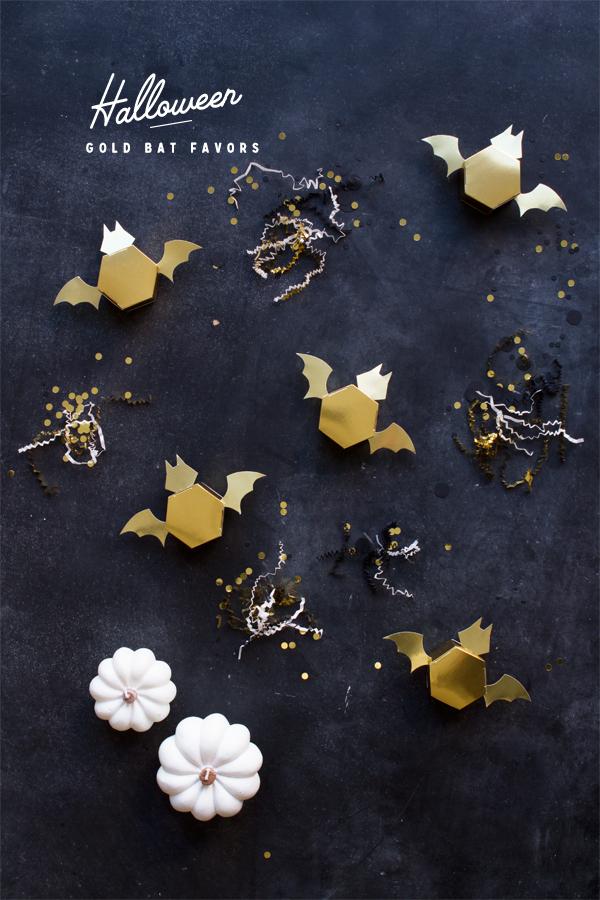 DIY Halloween Gold Bat Favors | Oh Happy Day!
