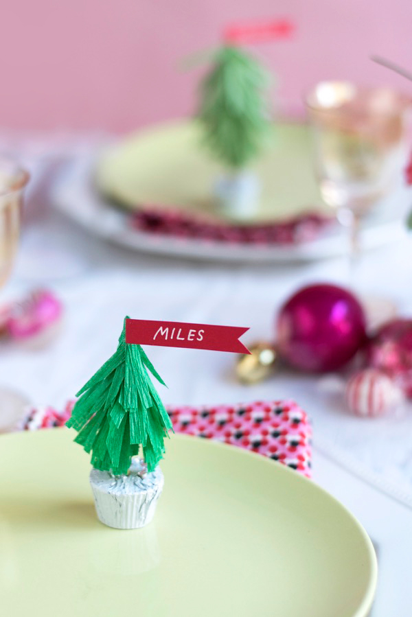 Crepe Paper Christmas Tree Name Cards DIY | Oh Happy Day!