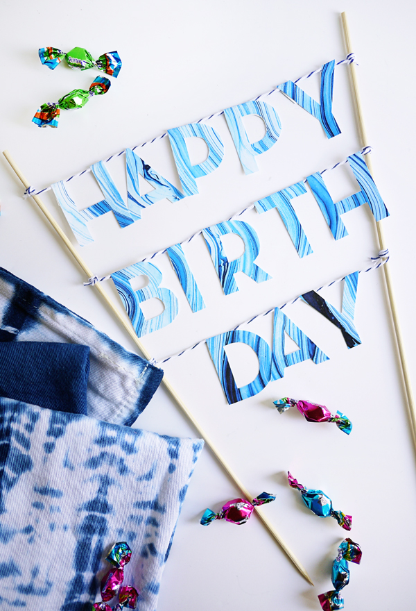 Printable Marbled Birthday Cake Topper | Oh Happy Day!