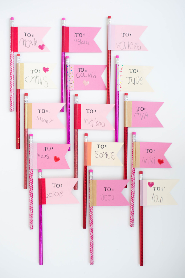 Valentine's Pencil Flags DIY | Oh Happy Day!