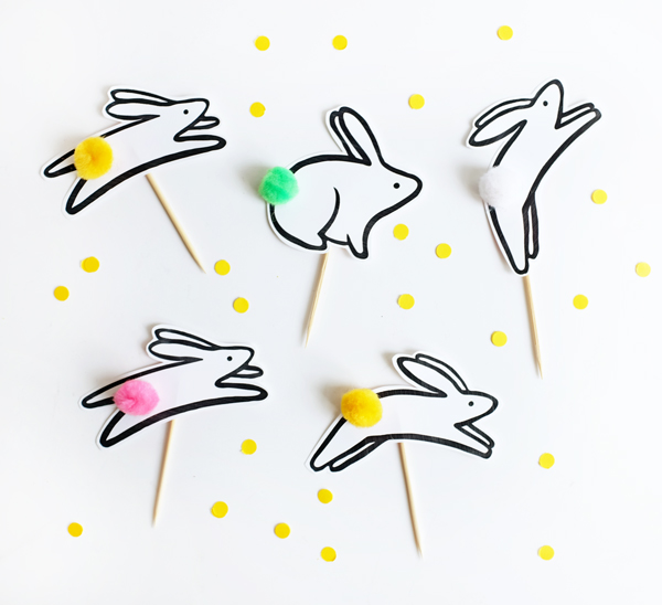 Printable Jumping Bunny Cupcake Toppers | Oh Happy Day!