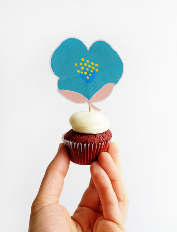 Printable Floral Cupcake Picks   Oh Happy Day!