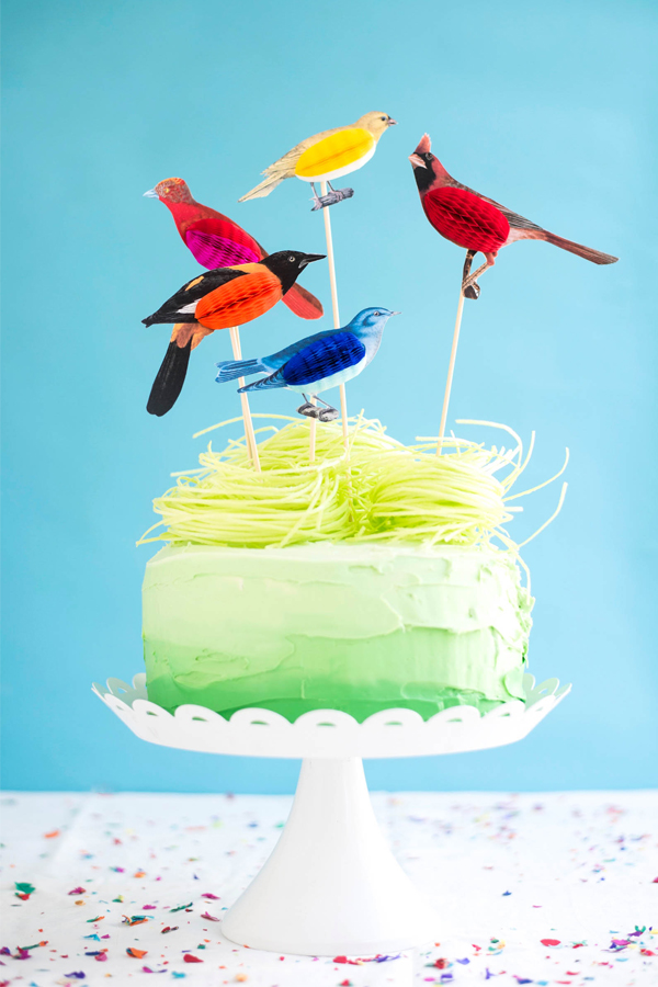 Honeycomb Bird Cake Toppers DIY | Oh Happy Day!