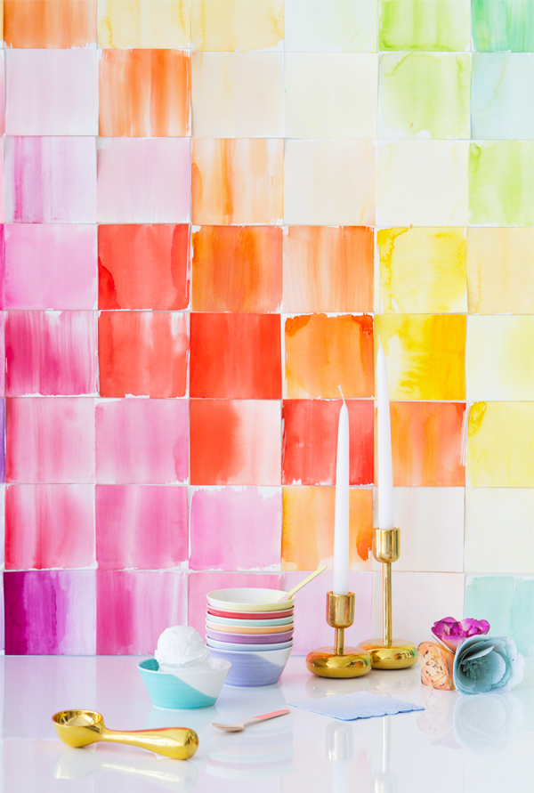 DIY Watercolor Paper Squares Backdrop | Oh Happy Day!