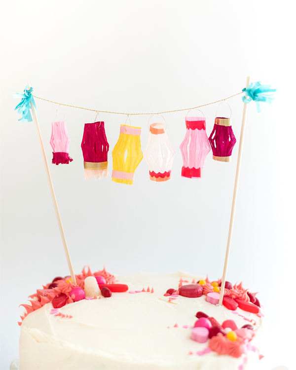 Mini Paper Lanterns Cake Topper DIY | Oh Happy Day!
