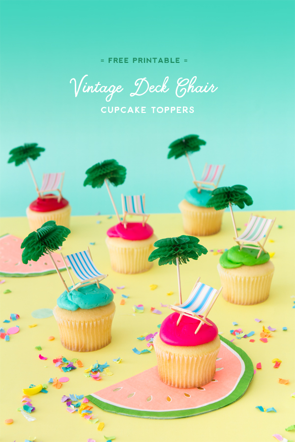 Vintage Striped Deck Chair Cupcake Toppers | Oh Happy Day!