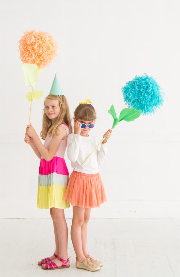 DIY Pom Pom Flower Party Sticks | Oh Happy Day!