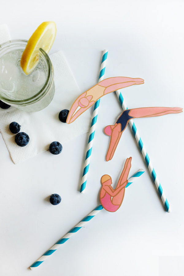 Printable Diving Lady Straws | Oh Happy Day!