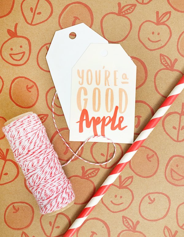 Printable Apple Gift Wrap & Tags | Oh Happy Day!