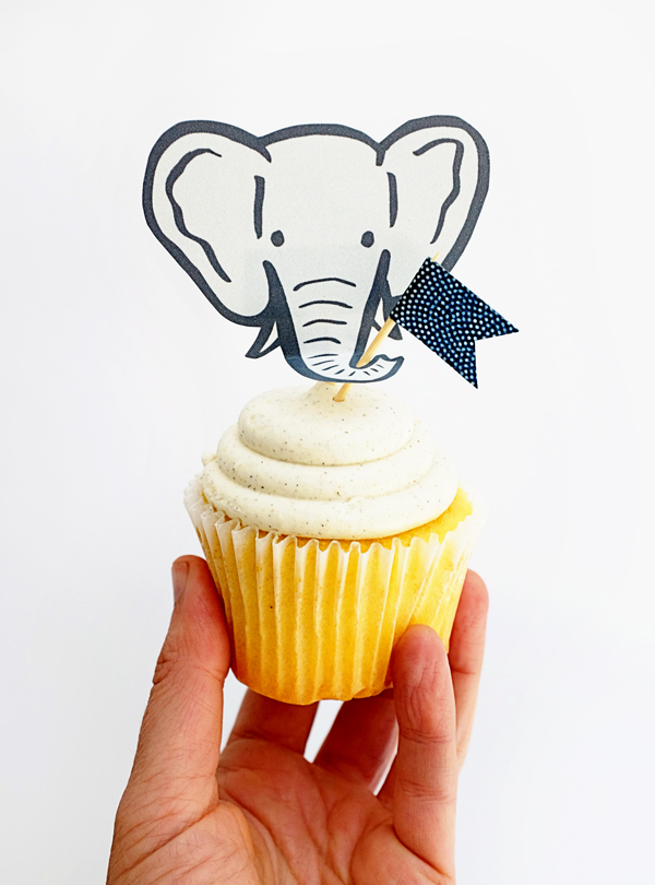 Printable Elephant Cupcake Toppers | Oh Happy Day!