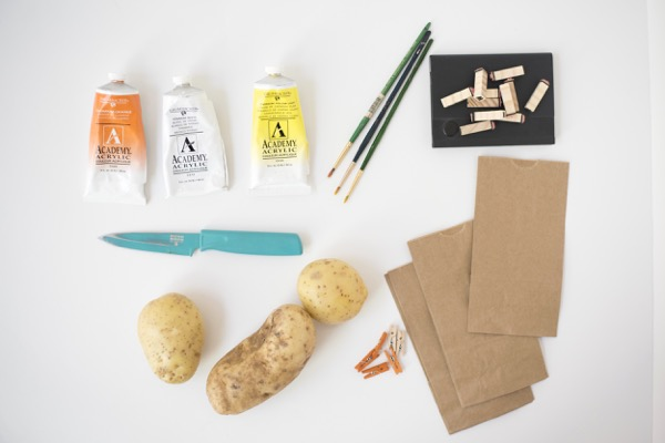 Candy Corn Potato Stamp Treat Bags DIY   Oh Happy Day!