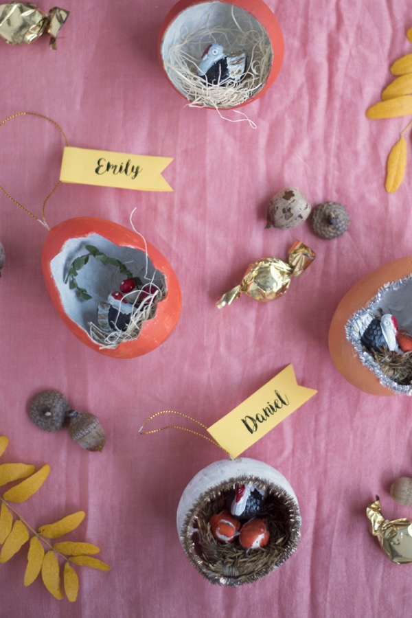 Thanksgiving Egg Diorama Place Cards DIY | Oh Happy Day!