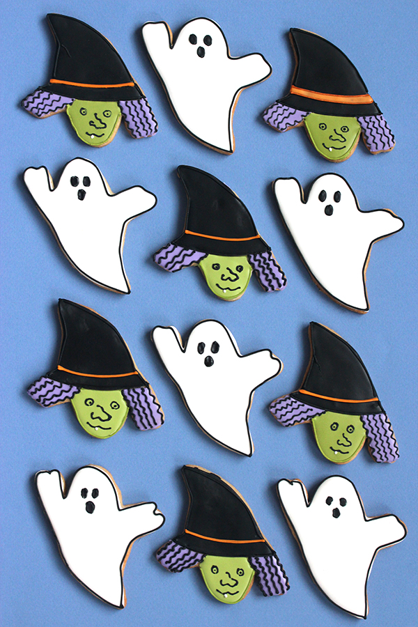 Halloween Ghost and Witch Face Cookies   Oh Happy Day!