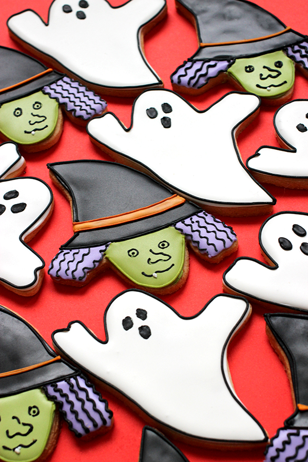 Halloween Cartoon Witch Face.Halloween Ghost And Witch Face Cookies