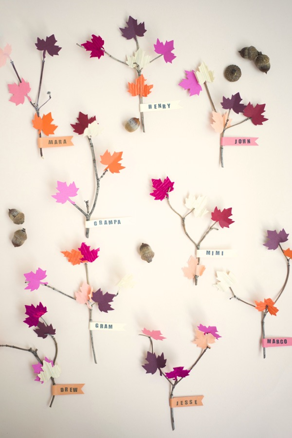 Leaf and Twig Place Cards DIY  Oh Happy Day!