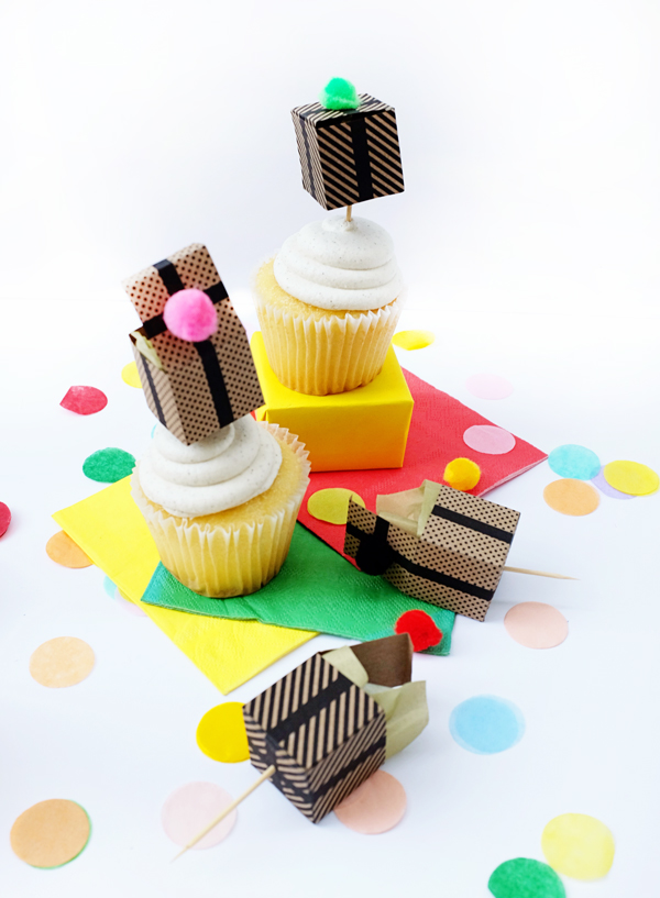 Printable Gift Box Cupcake Topper   Oh Happy Day!