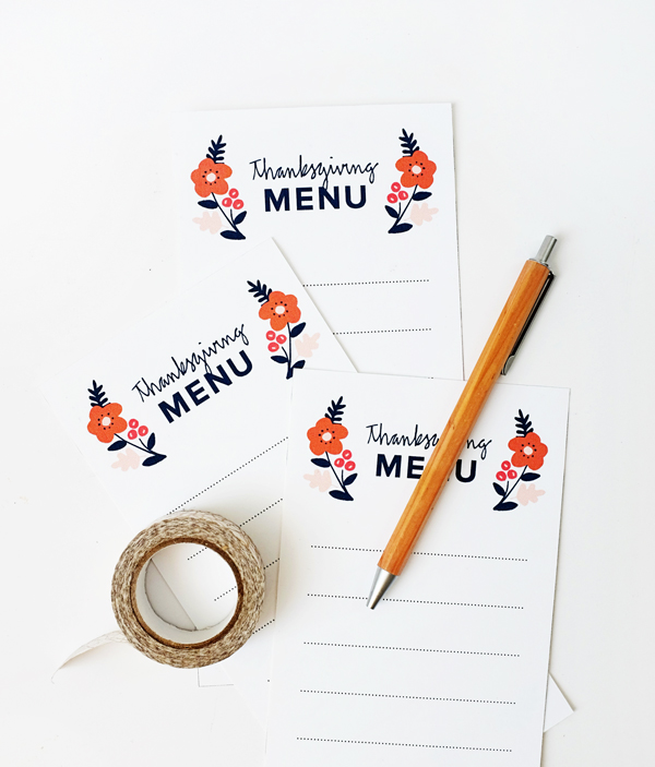 Printable Thanksgiving Menus | Oh Happy Day!