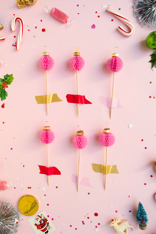 Honeycomb Ornament Cupcake Toppers DIY | Oh Happy Day!