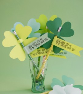 St. Patrick's Day Clover Pencils DIY | Oh Happy Day!
