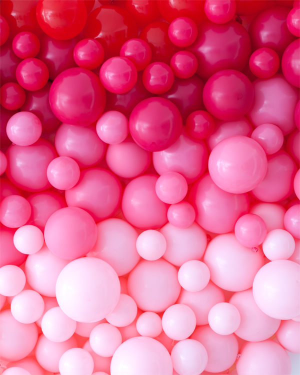 Red Colour Wall: Giant Ombre Heart Balloon Backdrop