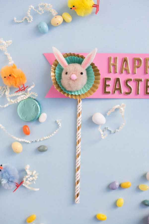 Pom Pom Easter Bunny Cake Topper DIY | Oh Happy Day!