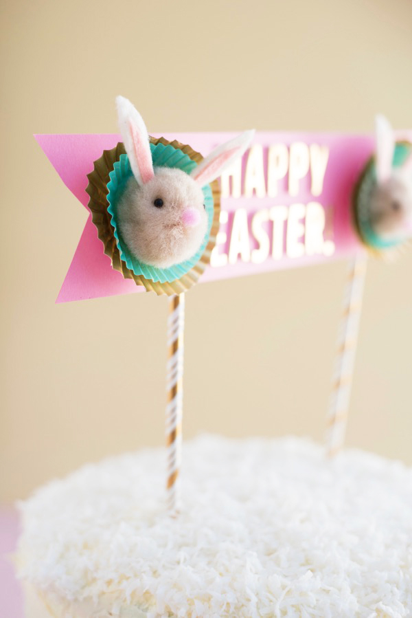 Pom Pom Easter Bunny Cake Topper DIY | Oh Happy Day!