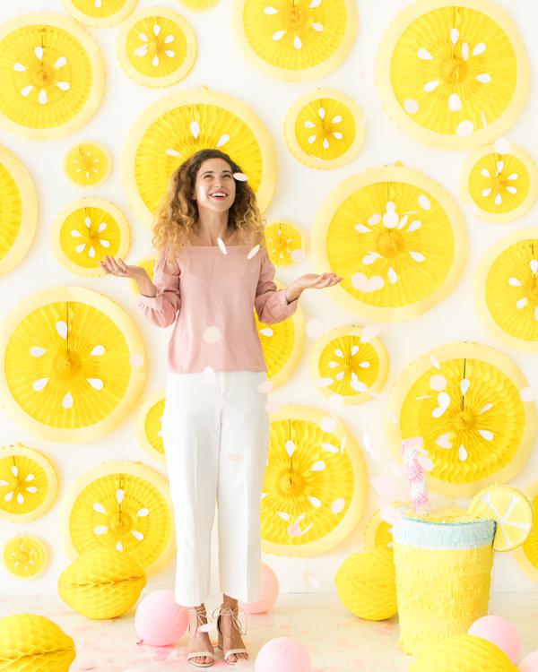 Lemon Party Fan Backdrop | Oh Happy Day!