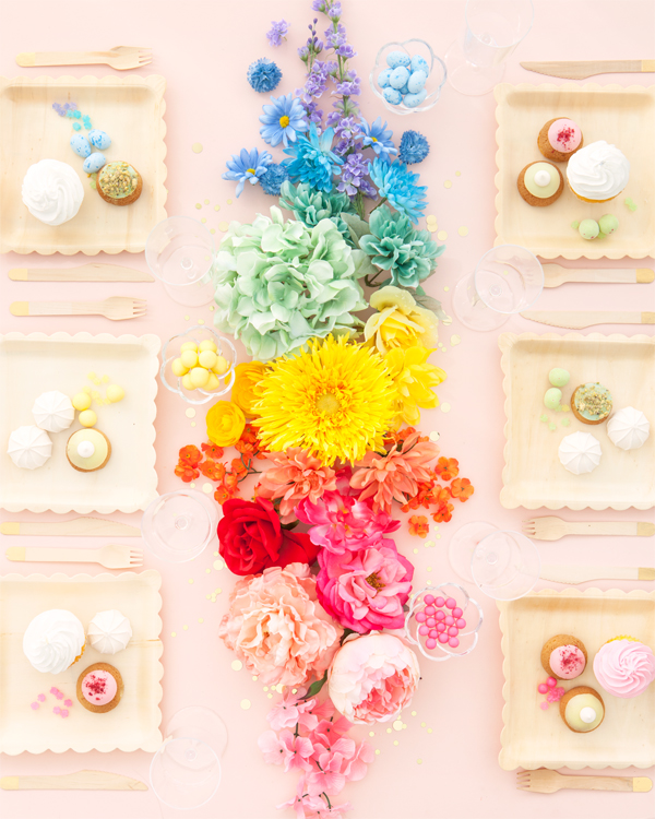 Rainbow Faux Flower Centerpiece | Oh Happy Day!