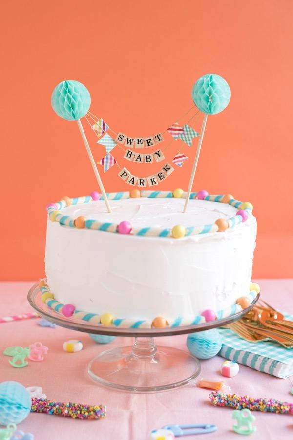 beaded baby shower cake topper