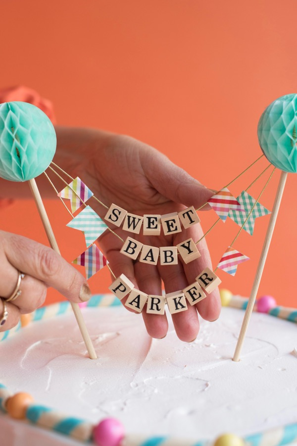 Beaded Baby Shower Cake Topper | Oh Happy Day!