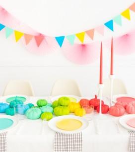 Rainbow Pumpkin Centerpiece | Oh Happy Day!